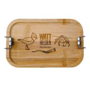 robuste Lunchbox aus Metall mit Bambusdeckel (Spende 5,- Euro)